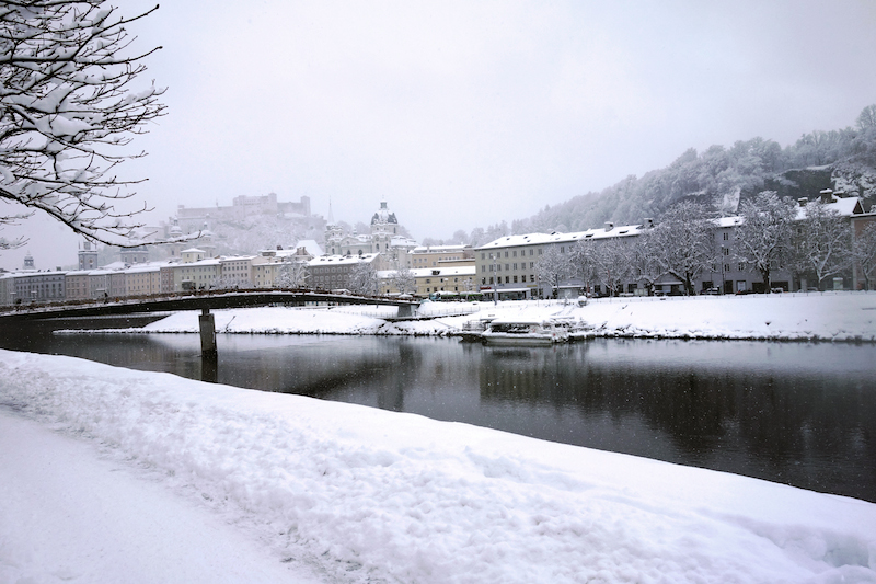 Salzach Blick auf Festung im Winter