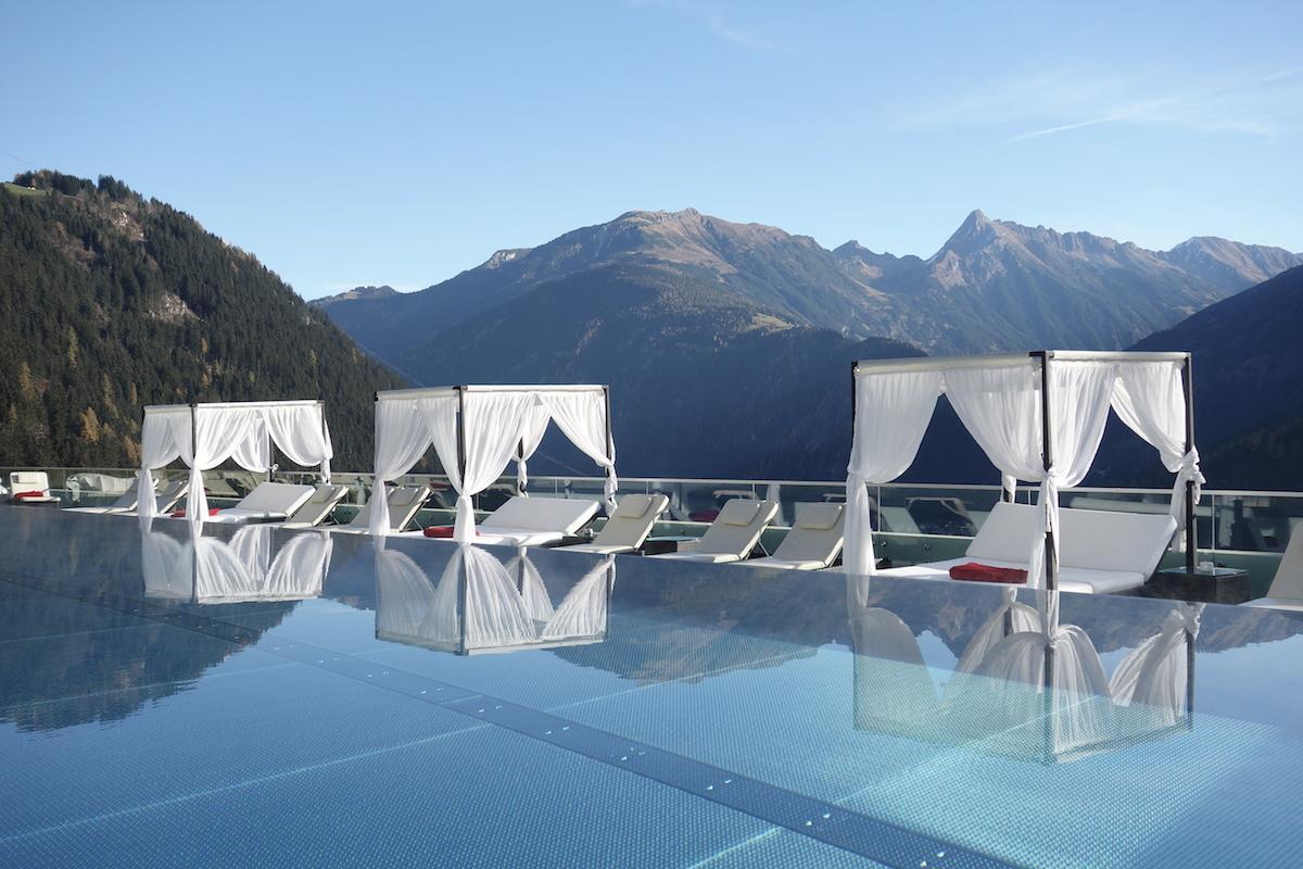 outdoor pool panorama hotel stock zillertal